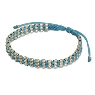 Handcrafted Silver 'Friendly Blue' Beaded Cord Bracelet (Thailand)