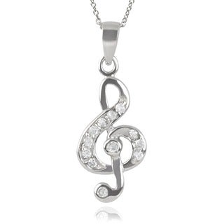 Journee Collection Sterling Silver Cubic Zirconia Treble Clef Pendant