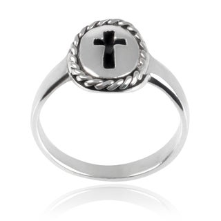 Journee Collection Children's Sterling Silver Cross Ring