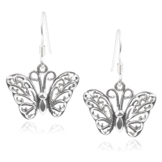 Journee Collection Sterling Silver Handcrafted Butterfly Earrings