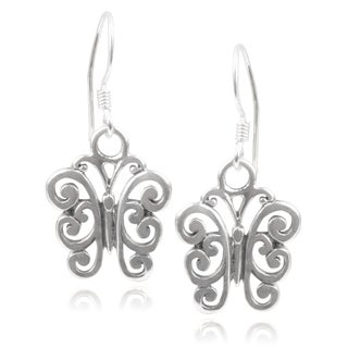 Journee Collection Sterling Silver Handcrafted Swirl Butterfly Earrings