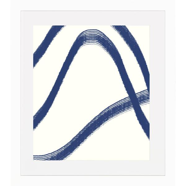 Blue Lines Framed Art Print - Matte White Finish