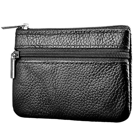 Zodaca Genuine Leather 2-zippered Multi-purpose Wallet Coin Bag Purse Card Holder