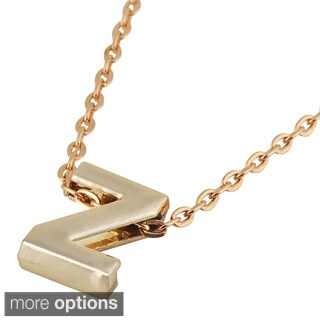 Zodaca Golden Alphabet N-Z Pendant Initial Letter Necklace (18.5 - 20.5 inch)