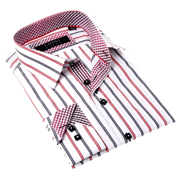 Coogi men 39 s white dress shirt with red and blue stripes for Mens red and white striped dress shirt