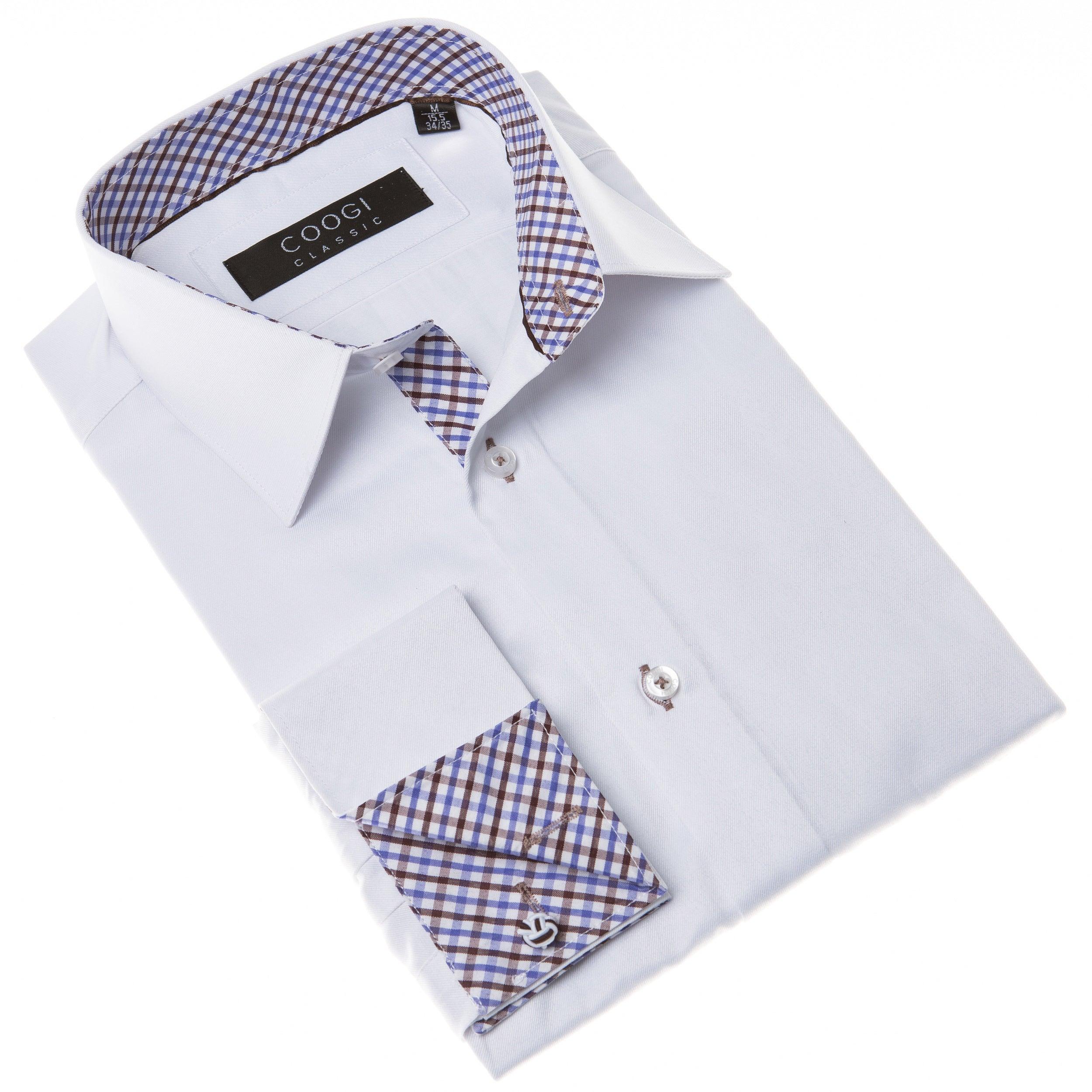 BRIO Coogi Men's White Dress Shirt with Blue and Brown Gi...
