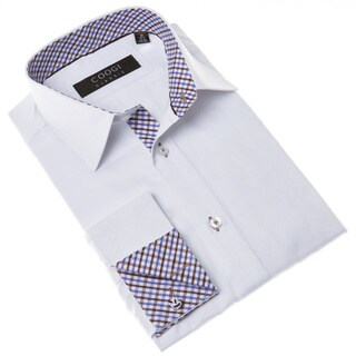 Coogi Men's White Classic-fit Dress Shirt with Brown and Blue Gingham Details