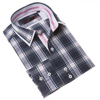 Brio Men's Blue and White Plaid Dress Shirt with Pink Details