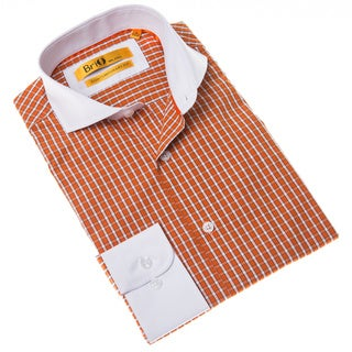 Brio Milano Men's Orange and White Check Contemporary-fit Dress Shirt