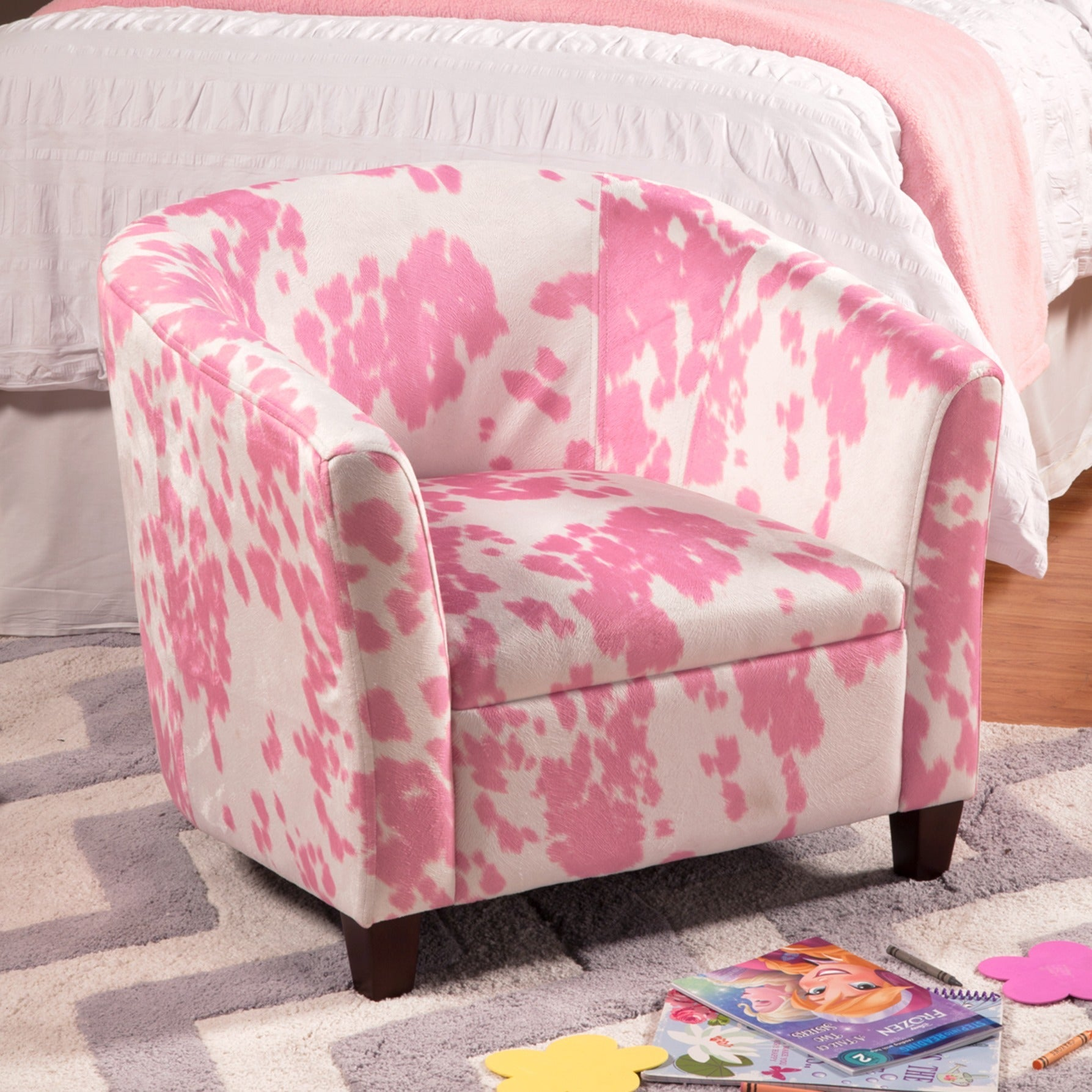 HomePop Kids' Pink Moo Moo Chair (Pink and white soft tou...