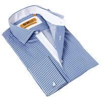 Brio Milano Men's Blue and White Striped Contemporary-fit Dress Shirt