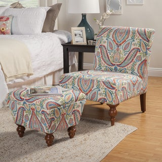 HomePop Coral and Turquoise Paisley Accent Chair and Ottoman