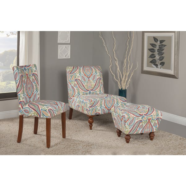 Incredible Shop Homepop Coral And Turquoise Paisley Accent Chair And Evergreenethics Interior Chair Design Evergreenethicsorg