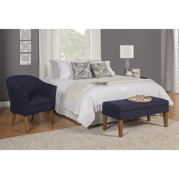High Quality HomePop Navy Chunky Textured Decorative Storage Bench