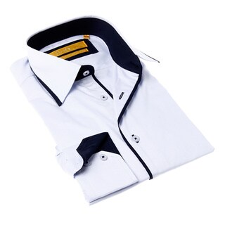 Brio Men's White Shirt with Navy Blue Trim