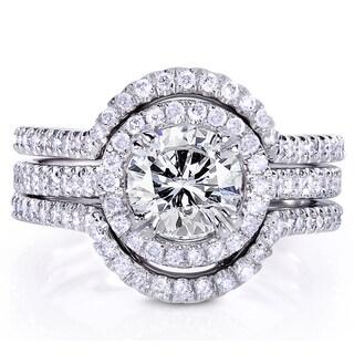 Annello by Kobelli 14k White Gold 1 5/8ct TDW Round-cut Diamond 3-Piece Bridal Ring Set (