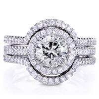 Annello by Kobelli 14k White Gold 1 5/8ct TDW Round-cut Diamond 3-Piece Bridal Ring Set
