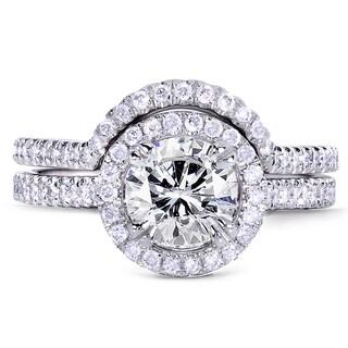 Annello by Kobelli 14k White Gold 1 1/2ct TDW Round Diamond Bridal Ring Set (G-H, I1-I2)