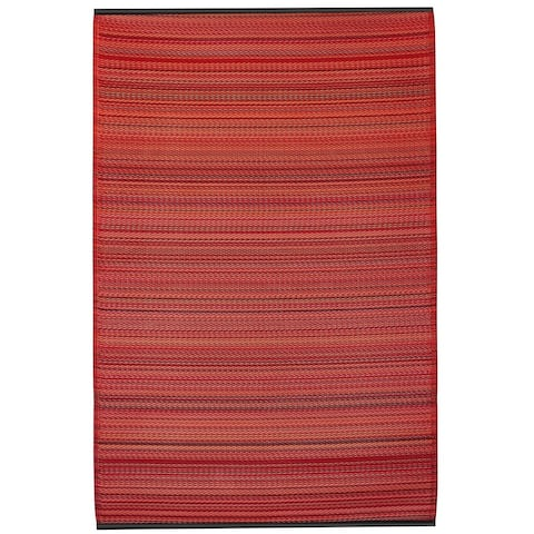 Handmade Recycled Plastic Reversible Cancun Sunset Red Stipe Rug (India) - 6' x 9'