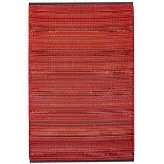 Handmade Indo Cancun Sunset Red Stipe Area Rug (6' x 9')