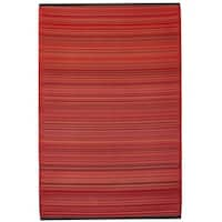 Handmade Indo Cancun Sunset Red Stipe Area Rug - 6' x 9' (India)
