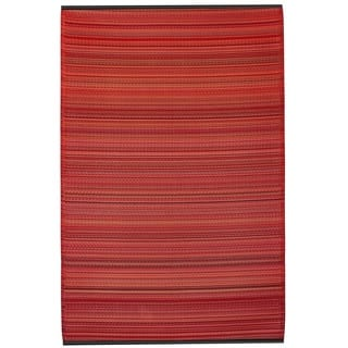 Fab Habitat Indoor Outdoor Recycled Plastic Reversible Cancun Sunset Red Stipe Area Rug (6' x 9') - 6' x 9'