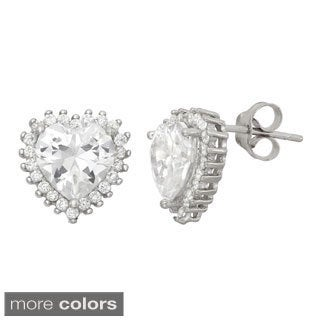 Gioelli Sterling Silver Cubic Zirconia Stylish Heart Stud Earring