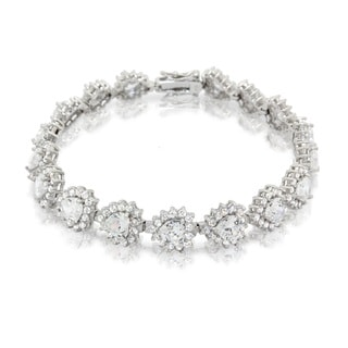 Gioelli Sterling Silver CZ Stylish Heart Link Bracelet