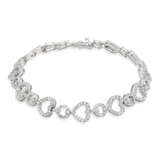 Gioelli Sterling Silver CZ Designer Heart Pattern Bracelet