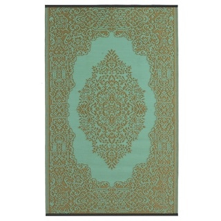 Indo Istanbul Fair Aqua and Bronze Geometric Area Rug (6' x 9')