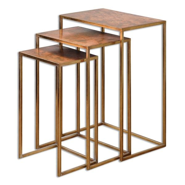Uttermost Copres Oxidized Nesting Tables (Set of 3)  sc 1 st  Overstock.com & Uttermost Copres Oxidized Nesting Tables (Set of 3) - Free Shipping ...