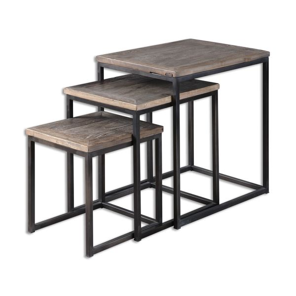 Lovely Uttermost Bomani Wood Nesting Tables Set (Set Of 3)