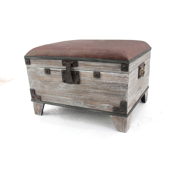 Distressed Wood Storage Ottoman ~ Distressed wooden storage stool ottoman free shipping