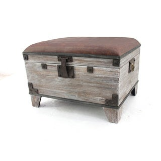 Distressed Wooden Storage Stool/ Ottoman