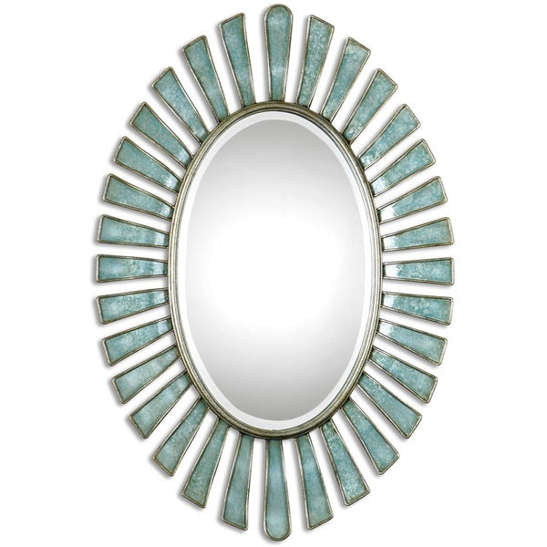 uttermost morvoren bluegray oval decorative wall mirror