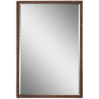 Uttermost Tempe Distressed Brown Rectangle Decorative Wall Mirror - Brown/Silver - 21.5x31.75x1.25