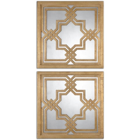Uttermost Piazzale Gold Square Decorative Mirrors (Set of 2)