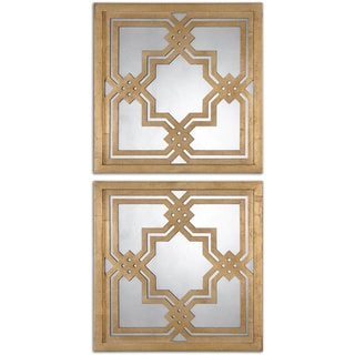 Link to Uttermost Piazzale Gold Square Decorative Mirrors (Set of 2) - Antique Silver - 19.75x19.75x1 Similar Items in Mirrors