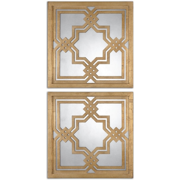Uttermost Piazzale Gold Square Decorative Mirrors (Set of 2) - Antique Silver - 19.75x19.75x1