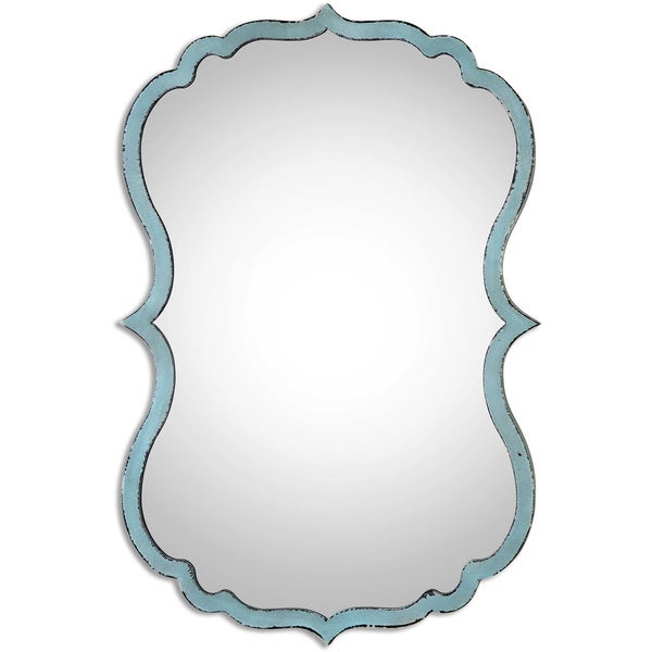 Uttermost Nicola Light Blue Metal and Glass Shabby Chic Ornate Decorative Mirror