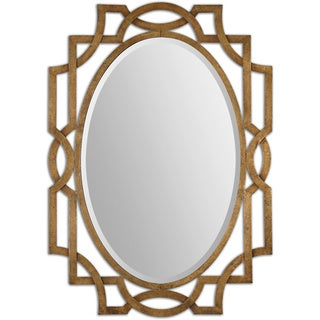 Uttermost Margutta Gold Decorative Oval Mirror - Antique Silver - 29.5x41x0.75