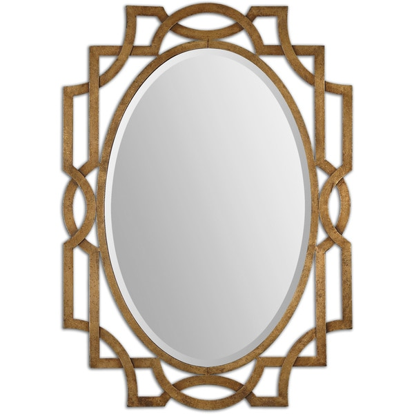 Uttermost margutta gold decorative oval mirror free for Fancy oval mirror