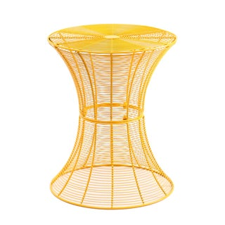 Adeco Iron Round Yellow Hourglass End/ Side Table