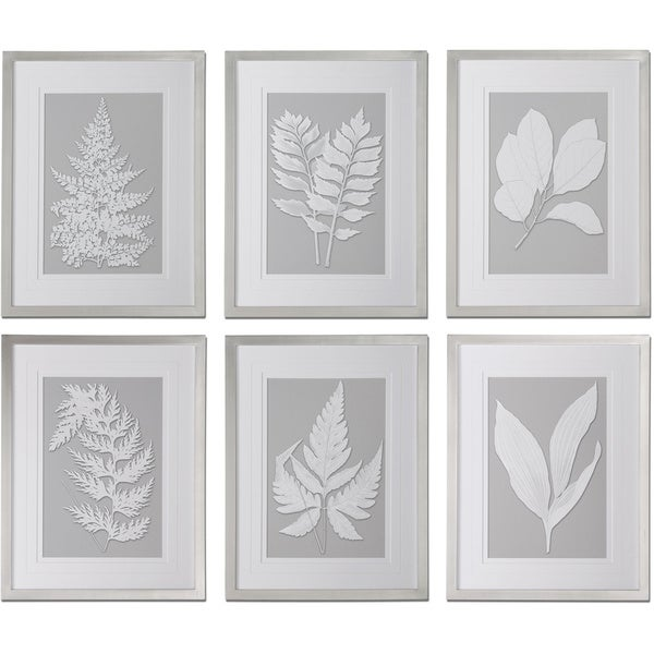 Uttermost 'Moonlight Ferns' Framed Print Art (Set of 6)