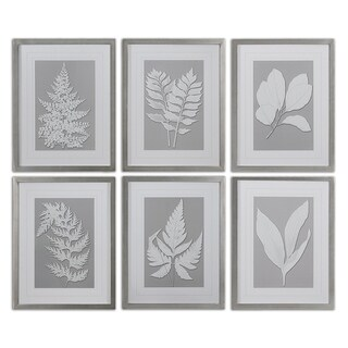 Uttermost 'Moonlight Ferns' Framed Print Art (Set of 6) - White