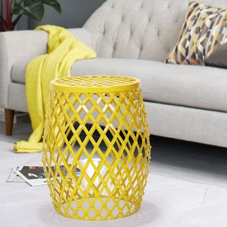 Adeco Bright Yellow Hatched Diamond Pattern Round Iron Stool
