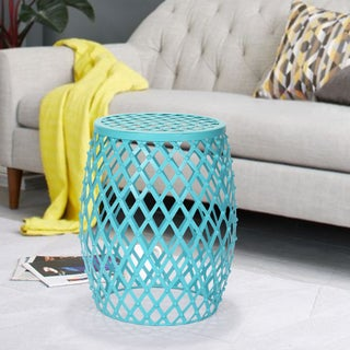 Adeco Hatched Diamond Pattern Sky Blue Round Iron Stool