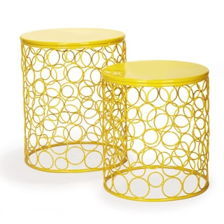 Adeco Circle Pattern Bright Yellow Round Iron Nesting Stools (Set of 2)