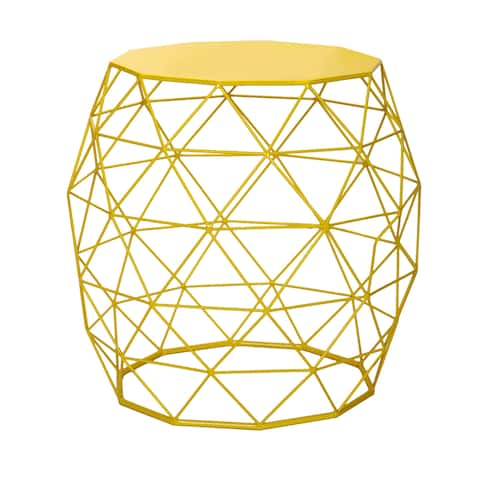 Adeco Accents Geometric Iron Side Table