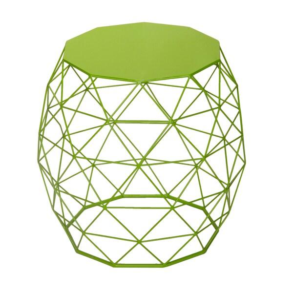 Adeco Triangle Pattern Khaki Green Round Iron Table/ Stool